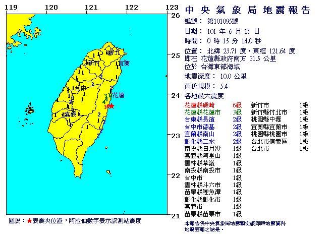 台湾で震度6クラスの地震