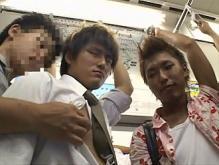 ゲイ動画:スーツリーマン大胆にもろ出し電車でGO !!