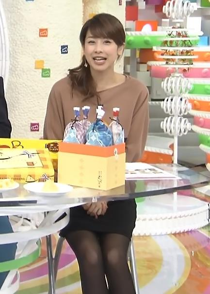 加藤綾子 ミニスカ黒ストッキング (20131229)