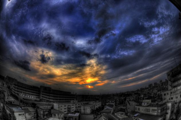 西側の夕景
