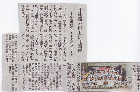 四連覇を達成した田上ライナーズジュニア