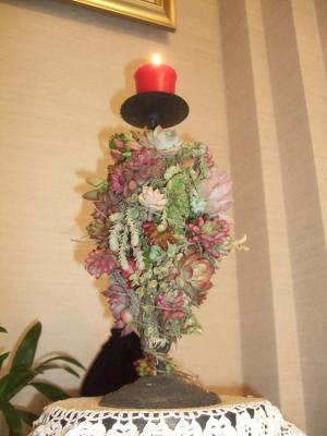 多肉オブジェ~キャンドルスタンドにアロマキャンドルを灯し気分は楽しいクリスマス(^-^)2013.12.24