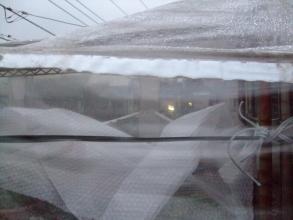アイアンラック簡易温室はビニールで囲うだけでな棚上上段多肉に2重にエアパッキンを被せ霜防寒対策しました。2013.12.18