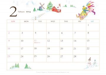 カレンダー a4 カレンダー 2014 : 2014年2月 カレンダー A4サイズ ...