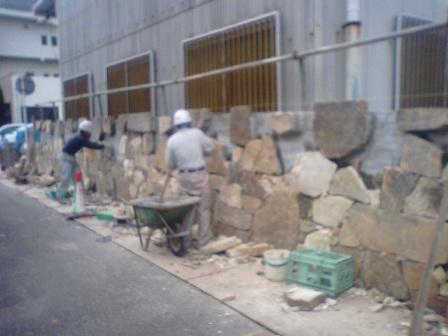 石垣工事~石張り