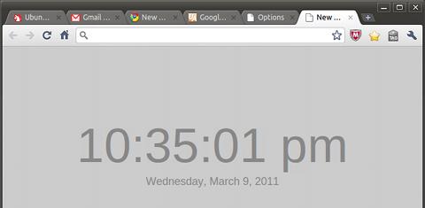 New Tab With Clock Chrome拡張機能 時計