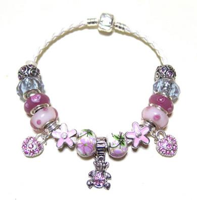 171-006-【Pink-Teddy-Bear】ピンクテディベア-チャームブレスレット