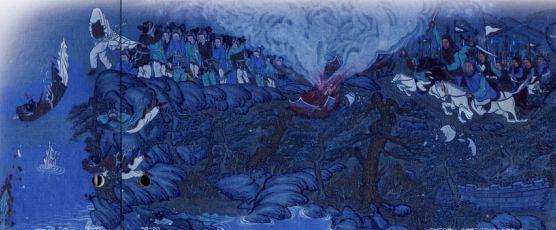 哀しみの落花岩から身を投げる女官たち