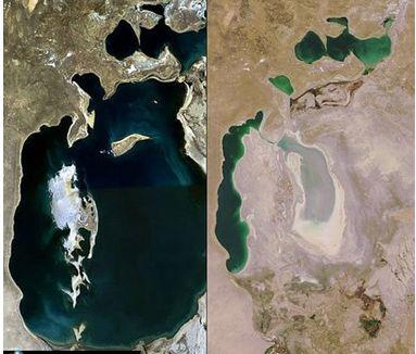 アラル海の衛星写真豊かな水がほとんどなくなり、アラル海には小さな3つの湖が残された。その中の、2つの小さな湖も塩分濃度が高すぎて魚が消滅し、かつて盛んだった漁業がすたれて沿岸の街は崩壊していった