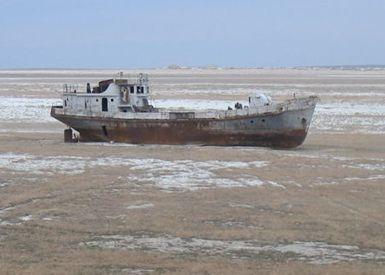 1950年代にスターリン時代の旧ソ連が実施した綿花栽培のための灌漑 (五カ年計画の一環として行われた)や、アムダリア川の上流部にカラクーム運河の建設が原因。
